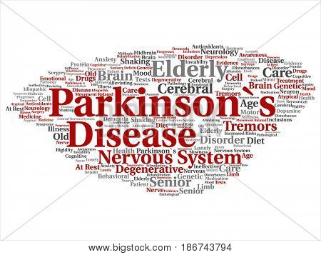 Concept conceptual Parkinson`s disease healthcare or nervous system disorder abstract word cloud isolated background. Collage of healthcare, degenerative illness, genetic, symptom or brain text