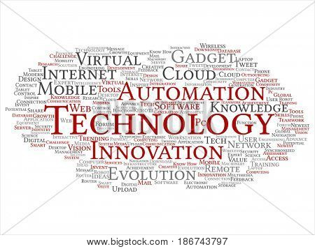 Conceptual digital smart technology, innovation media abstract word cloud isolated background. Collage of information, internet, future development, research, evolution or intelligence text