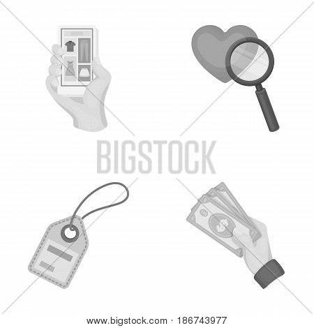 Hand, mobile phone, online store and other equipment. E commerce set collection icons in monochrome style vector symbol stock illustration .