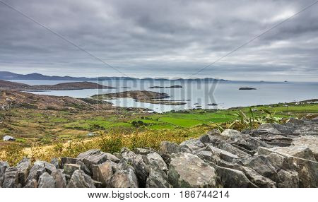 Beautiful coastal seascape in County Kerry along the Ring of Kerry, Ireland