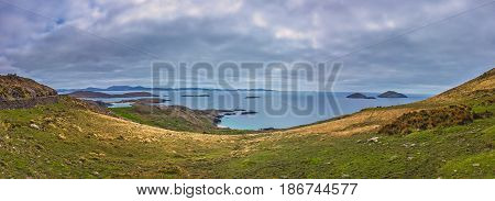 Panoramic view of the beautiful coastal seascape in County Kerry, along the Ring of Kerry route, Ireland