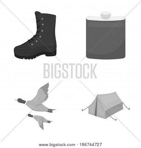 Flying ducks, flask, boots, tent..Hunting set collection icons in monochrome style vector symbol stock illustration .