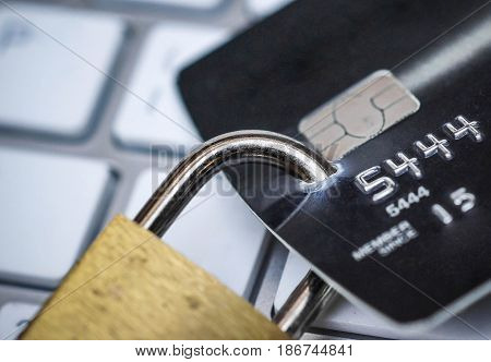 Credit card data security concept / Data encryption on credit card