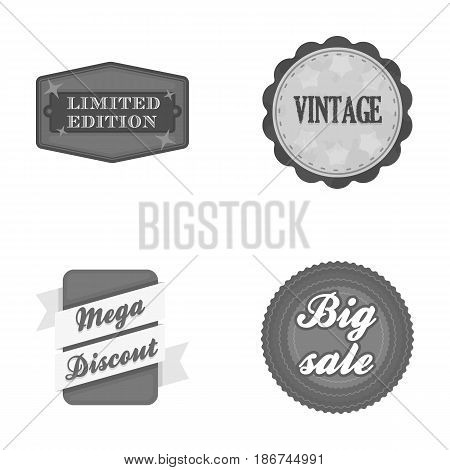 Limited edition, vintage, mega discont, dig sale.Label, set collection icons in monochrome style vector symbol stock illustration .