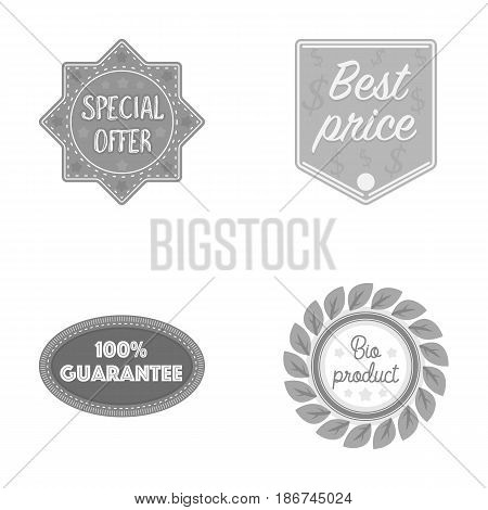 Special offer, best prise, guarantee, bio product.Label, set collection icons in monochrome style vector symbol stock illustration .
