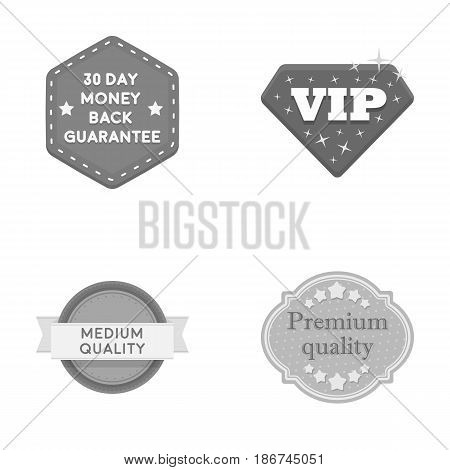 Money back guarantee, vip, medium quality, premium quality.Label, set collection icons in monochrome style vector symbol stock illustration .