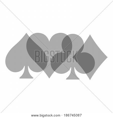 Poker card suits - hearts, clubs, spades and diamonds - on white background. Casino gambling theme vector illustration. Grey transparent shapes partly overlapping.