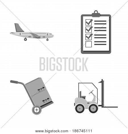 Cargo plane, cart for transportation, boxes, forklift, documents.Logistic, set collection icons in monochrome style vector symbol stock illustration .