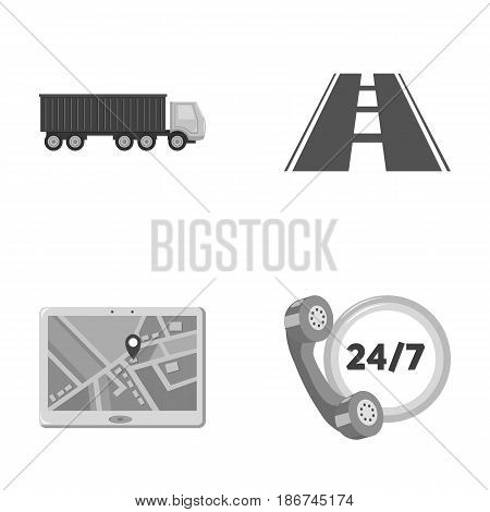 Round the clock, road, truck, JPS.Logistic, set collection icons in monochrome style vector symbol stock illustration .