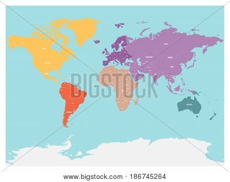 Political map of world with Antarctica. Continents in different colors on blue background. Black labels with states and significant dependent territories names. High detail vector illustration.
