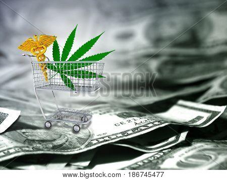 Marijuana leaf and caduceus in a cart. US dollars.   3D rendering