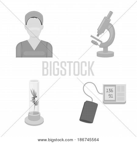 Plant in vitro, nurse, microscope, tonometer. Medicine set collection icons in monochrome style vector symbol stock illustration .