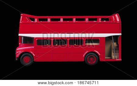 london bus toy isolated on black background