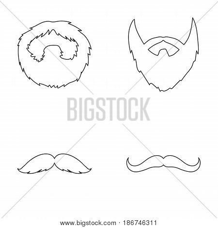Man's beard and mustache. Beard set collection icons in outline style vector symbol stock illustration .