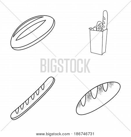Loaf, French loaf, bread in a package, wheat bread.Bread set collection icons in outline style vector symbol stock illustration .