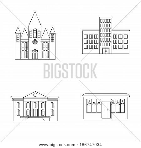 Church, hospital, cafe, museum.Building set collection icons in outline style vector symbol stock illustration .