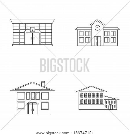 Residential building, bank, school, hotel.Building set collection icons in outline style vector symbol stock illustration .