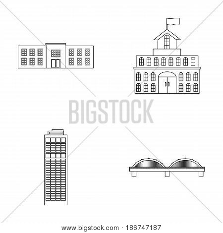 Skyscraper, police, bridge, government house.Building set collection icons in outline style vector symbol stock illustration .