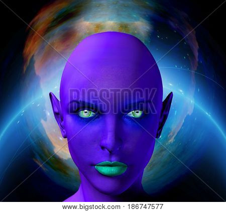 The face of female alien. Colorful universe on a background.   3D rendering  Some elements provided courtesy of NASA