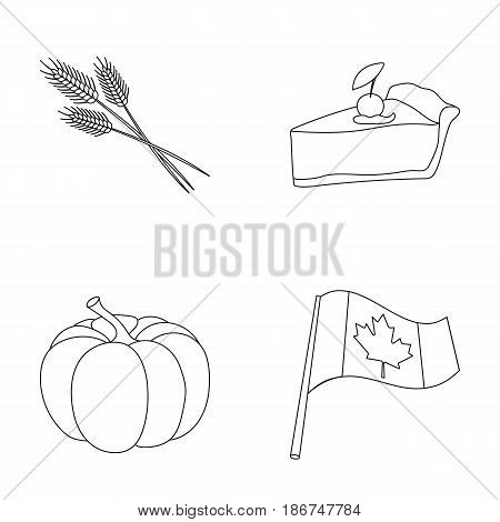 Spike of wheat, a piece of pie with cranberries, pumpkin, national flag.Canada thanksgiving day set collection icons in outline style vector symbol stock illustration .