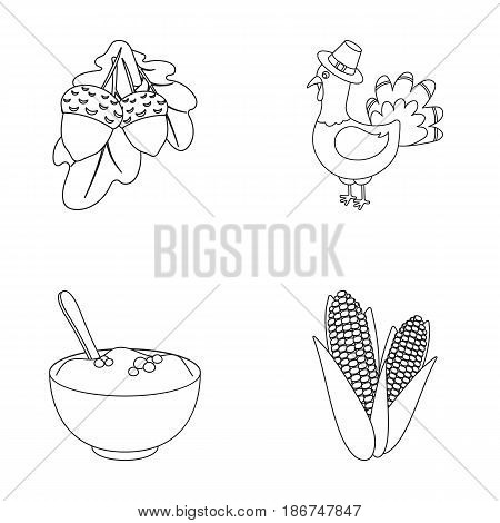 Acorns, corn.arthene puree, festive turkey, Canada thanksgiving day set collection icons in outline style vector symbol stock illustration .