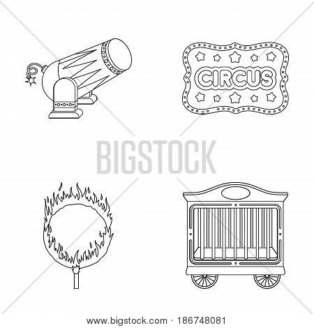 Circus trailer, circus gun, burning hoop, signboard.Circus set collection icons in outline style vector symbol stock illustration .