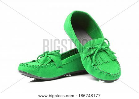 A pair of green moccasins isolated on white
