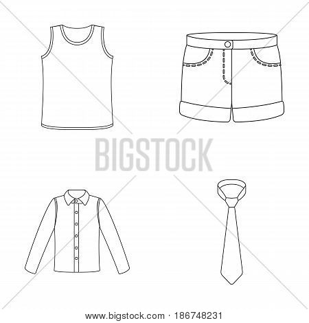 Shirt with long sleeves, shorts, T-shirt, tie.Clothing set collection icons in outline style vector symbol stock illustration .