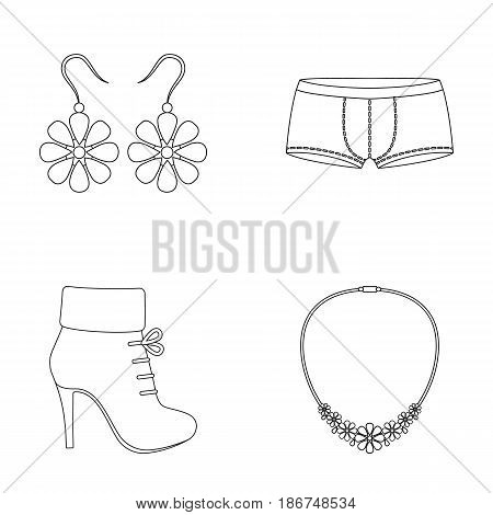 Earrings, costume jewelry, briefs and other clothes. Clothes set collection icons in outline style vector symbol stock illustration web.