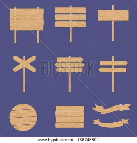 Wooden signboards arrow sign empty signboard banner vector set