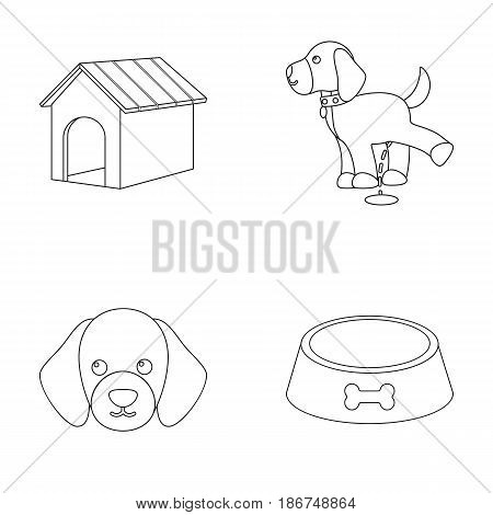 House, booth, bowl, food.Dog set collection icons in outline style vector symbol stock illustration .