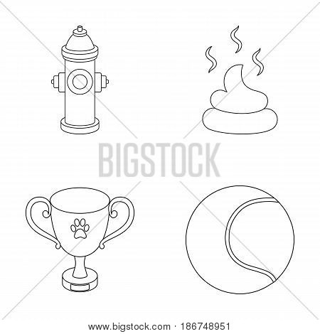 Tennis ball, game, hydrant fire, cup, feces.Dog set collection icons in outline style vector symbol stock illustration .