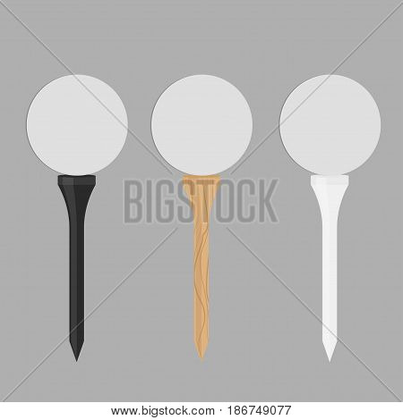 Black wooden and white golf tees set icon vector illustration