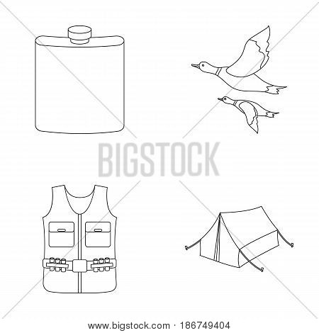 Flask, gilet with cartridges, flying ducks, tent.Hunting set collection icons in outline style vector symbol stock illustration .