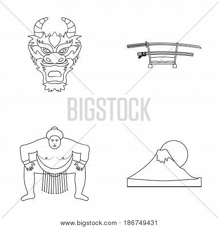 Dragon mask, katano, a man is a sumo player, a fujiama mountain.Japan set collection icons in monochrome style vector symbol stock illustration .