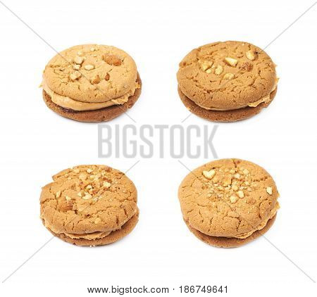 Peanut butter homemade cookie isolated over the white background, set of four different foreshortenings