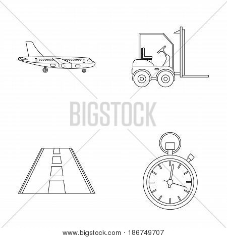 Cargo aircraft, forklift, stopwatch, road.Logistic set collection icons in outline style vector symbol stock illustration .