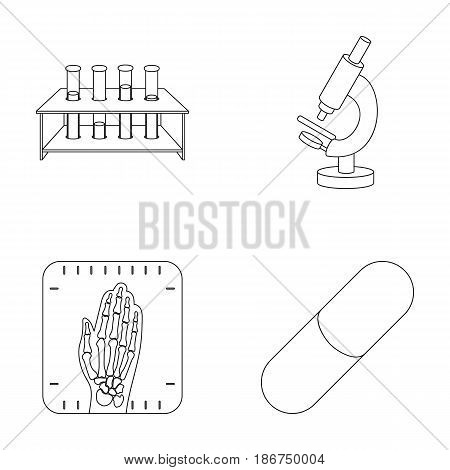 Test tubes on a stand, microscope, x-ray hands, bio-pill. Medicine set collection icons in outline style vector symbol stock illustration .