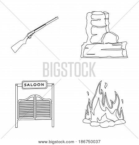 Winchester, saloon, rock, fire.Wild west set collection icons in outline style vector symbol stock illustration .