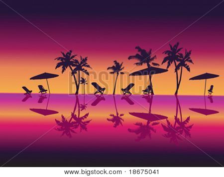 Purple Night Sea Palms Beach. Vector Illustration.