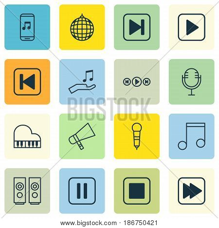 Set Of 16 Audio Icons. Includes Audio Buttons, Mike, Dance Club And Other Symbols. Beautiful Design Elements.