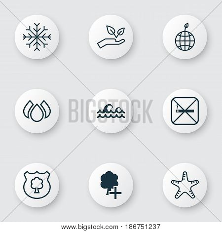 Set Of 9 Eco Icons. Includes Cigarette, Insert Woods, Snow And Other Symbols. Beautiful Design Elements.