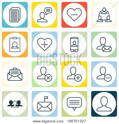 Set Of 16 Social Icons. Includes Significant Letter, Read Message, Web Profile And Other Symbols. Beautiful Design Elements.