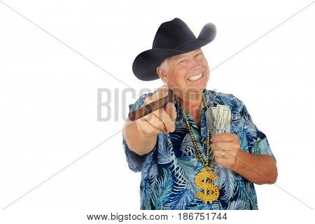 Texas Billionaire has Money to Loan. Isolated on white. Room for text. A Man in a Black Cowboy Hat, Smoking a Cigar, Holds Cash. Banking concepts.