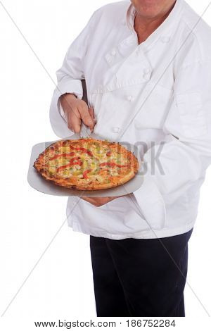 Pizza concepts. Unidentifiable chef holds a fresh baked pizza. Isolated on white. Room for text.
