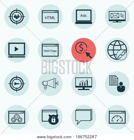 Set Of 16 SEO Icons. Includes PPC, Focus Group, Website And Other Symbols. Beautiful Design Elements.