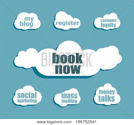 Marketing Concept. Words Book Now . Design With Abstract Speech Bubble Set