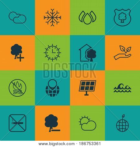 Set Of 16 Eco-Friendly Icons. Includes World Ecology, Cloud Cumulus, Snow And Other Symbols. Beautiful Design Elements.