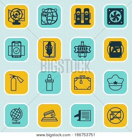 Set Of 16 Travel Icons. Includes Airport Card, Road Map, Cop Symbol And Other Symbols. Beautiful Design Elements.