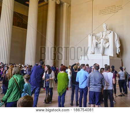 A hotspot for tourists in Washington - the Lincoln Memorial - WASHINGTON DC - COLUMBIA